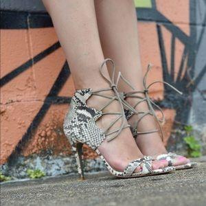 Lace-up snakeskin heeled sandals